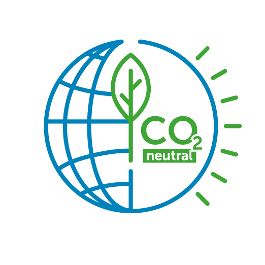 Icon of a sphere with a tree leaf and the mention CO2 neutral