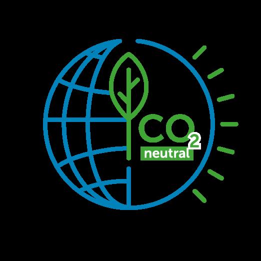 Icône d'une sphère avec une feuille d'arbre et la mention CO2 neutral