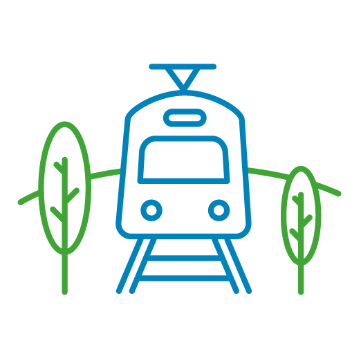 Diverted icon of a train in front with trees