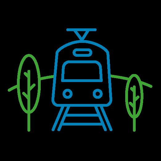 Icône détourée d'un train de face avec des arbres