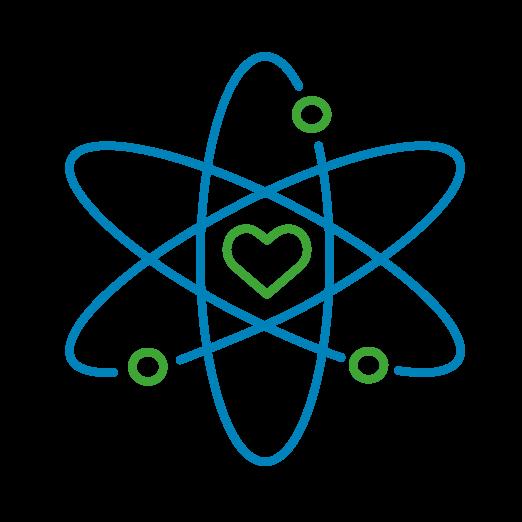Icône détourée de plusieurs cercles autour d'un cœur