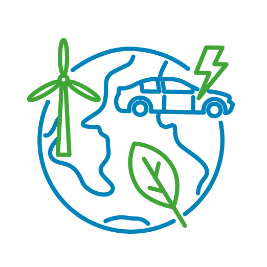 Cropped icon of a planet, a car and a wind turbine