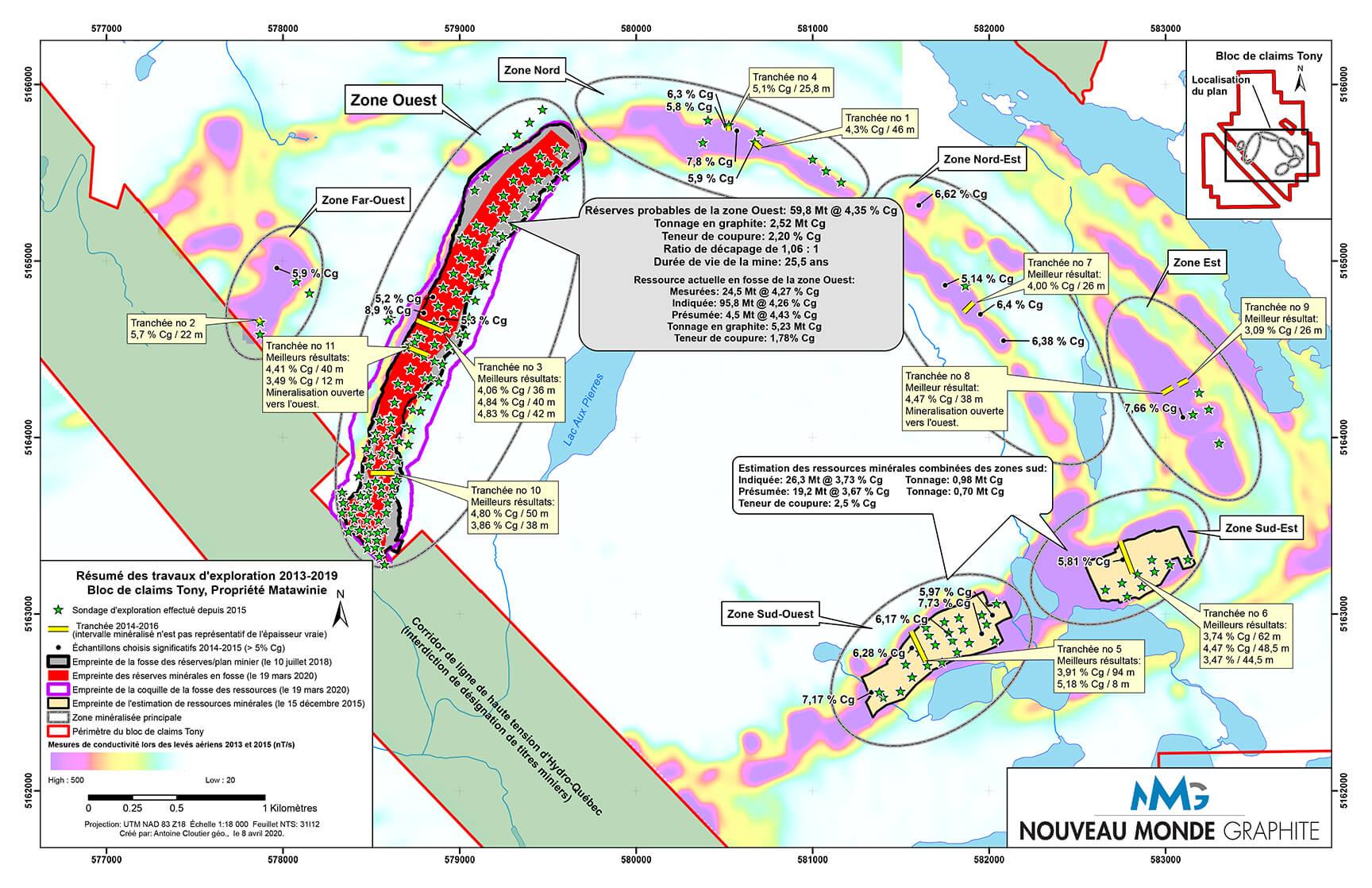 Carte présentant le site de travaux d'exploration Matawinie