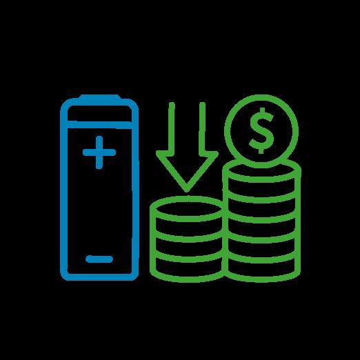 Image d'une batterie et de deux piles de pièces de monnaie