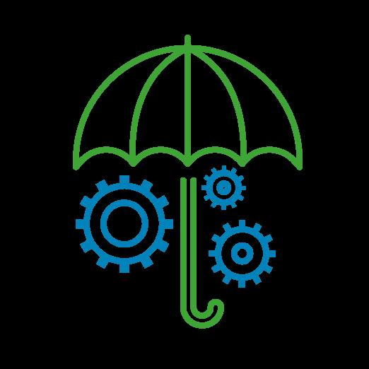 Icône d'un parapluie abritant des engrenages