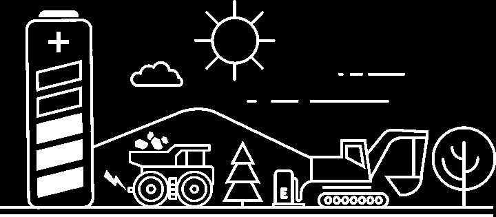 Dessin détouré blanc montrant une grosse batterie dans un paysage