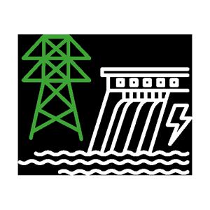 Icône détourée d'un barrage hydroélectrique et d'un pylône
