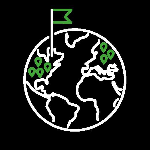 Icône détourée d'un drapeau et de lieux identifiés sur une planète
