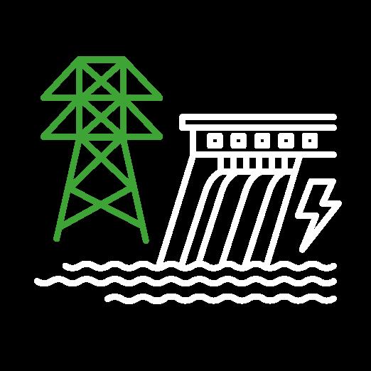 Illustration détourée d'un pylône vert et d'un barrage blanc