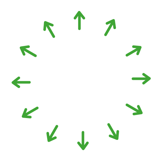 Icon of a handshake in a circle surrounded by arrows