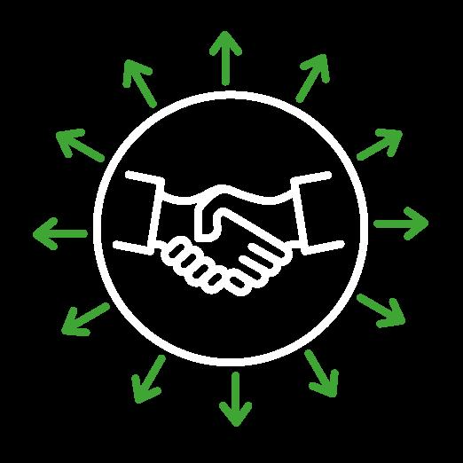 Icône d'une poignée de mains dans un cercle entouré de flèches